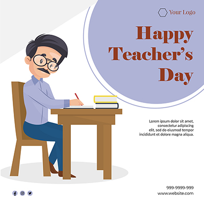 Flat banner of happy teacher's day template