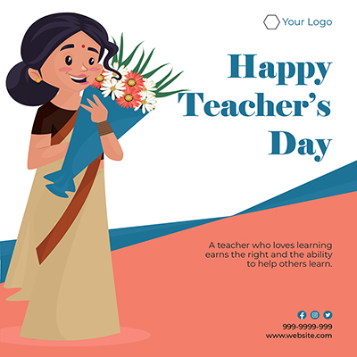Flat banner template of happy teacher's day