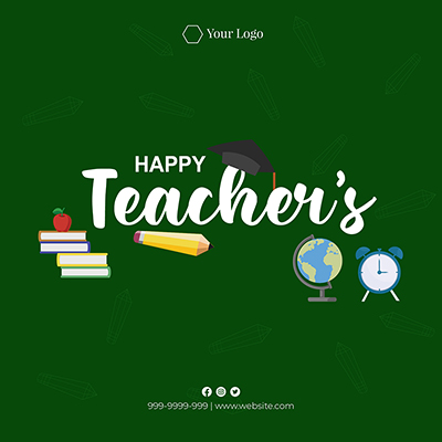 Flat banner template with happy teacher's day