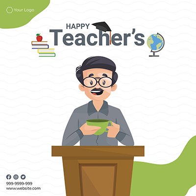 Flat template banner for happy teacher's day