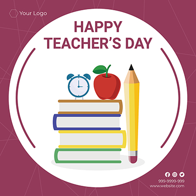 Flat template banner of happy teacher's day