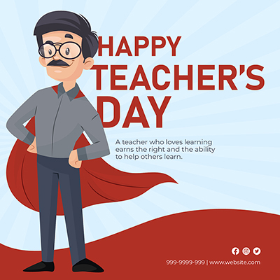 Flat template for happy teacher's day