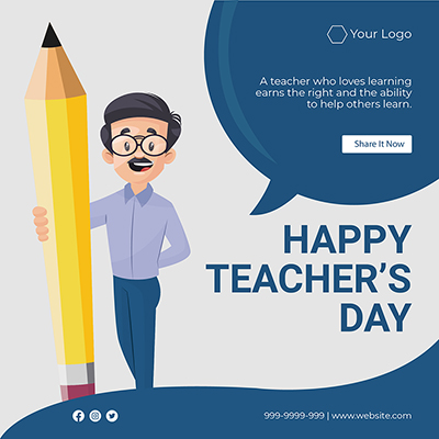 Flat template of happy teacher's day