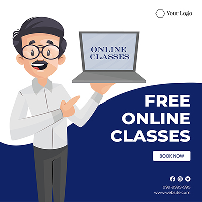 Free online classes flat banner template