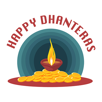 Happy Dhanteras with a lamp illustration