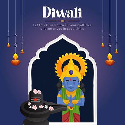 Happy Diwali festival of light flat banner template