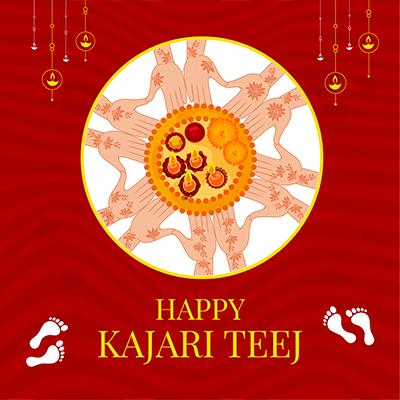Happy Kajari Teej with best wishes banner template 5 small