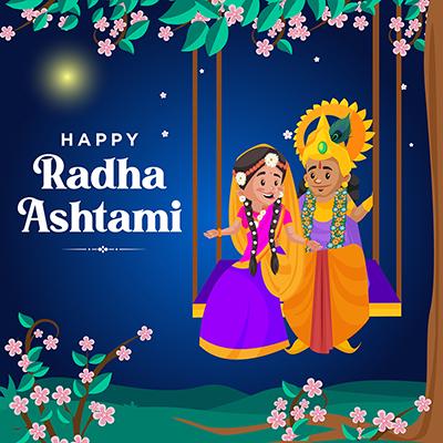 Happy Radha ashtami banner design template