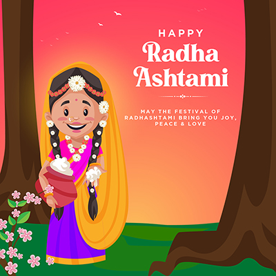 Happy Radha ashtami social media template