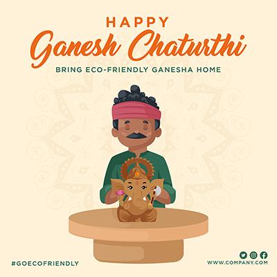 Happy ganesh chaturthi bring eco friendly ganesha home template