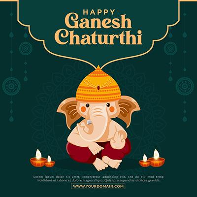 Happy ganesh chaturthi festival template banner designs