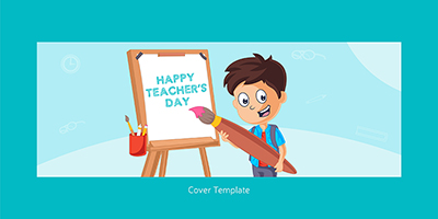 Happy teacher's day facebook cover page template
