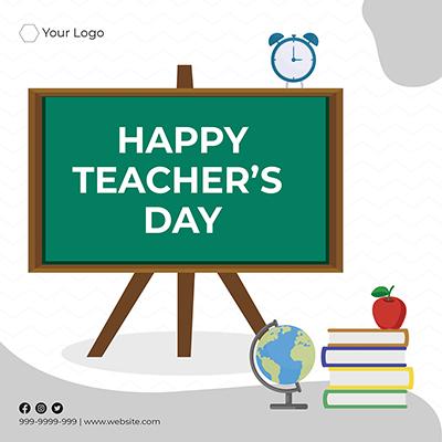 Happy teacher's day flat template design