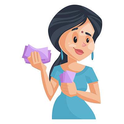 House wife illustration is holding money in hand