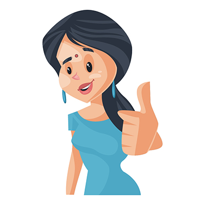 Housewife illustration showing thumbs up