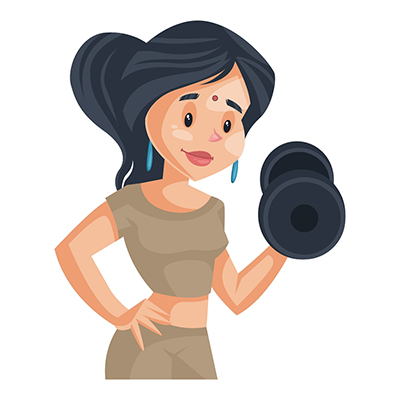 Housewife is doing exercise with dumbbell