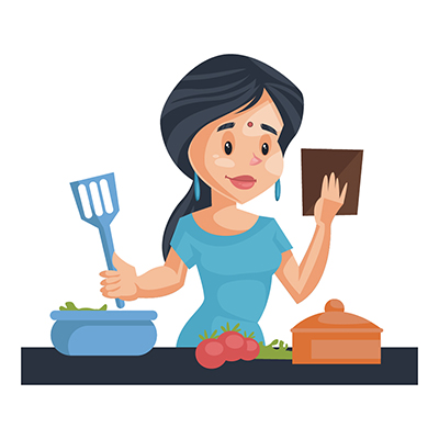 Housewife illustration making food in the kitchen