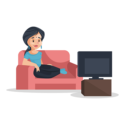 Housewife is sitting on the sofa and watching tv