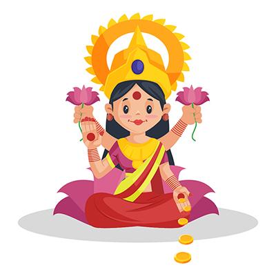 Illustration of Goddess Lakshmi on a lotus flower
