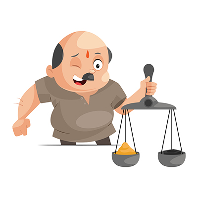 Illustration of a shopkeeper is with scales