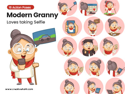 Modern Granny- Loves taking Selfie Vector Bundle