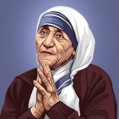Mother Teresa The Saint Vector Portrait Illustration