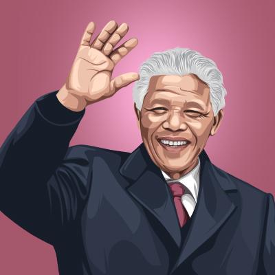 Nelson Mandela Former President of South Africa Vector Illustration