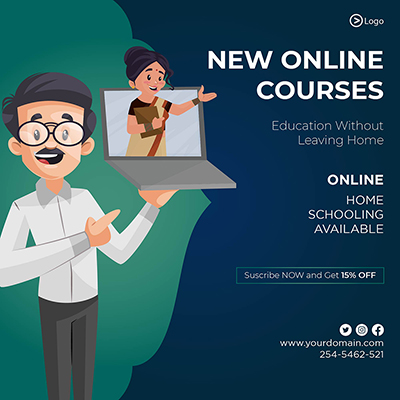 New online course template banner design