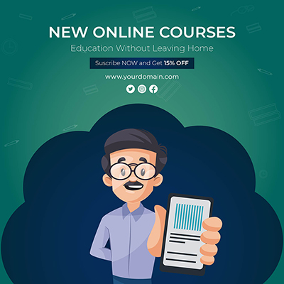 New online courses education without leaving home banner template