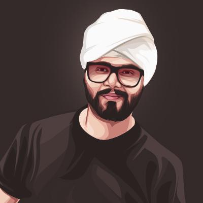 Ramji Gulati Indian Singer Portrait Vector Illustration