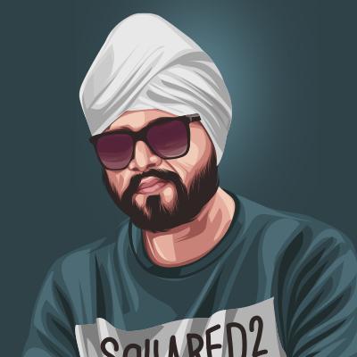 Ramji Gulati Playback Singer Portrait Vector Illustration