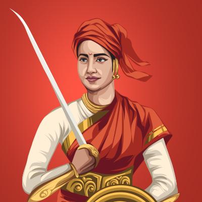 Rani Of Jhansi Lakshmibai Vector Portrait Illustration