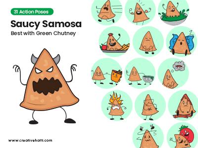 Saucy Samosa- Best with Green Chutney Vector Bundle