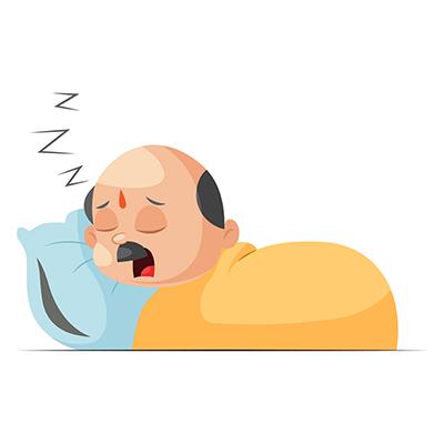 Shopkeeper is sleeping illustration