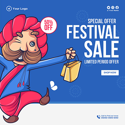 Special offer on festival sale template