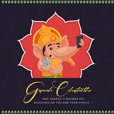 Template banner of Ganesh Chaturthi celebration