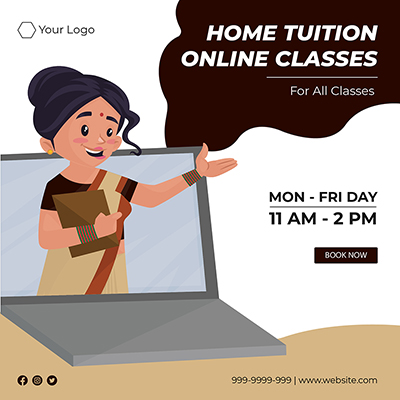 Template banner of home tuition online classes