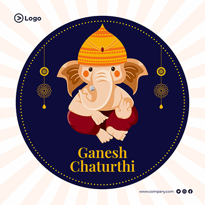 Template for Ganesh Chaturthi celebrations banner