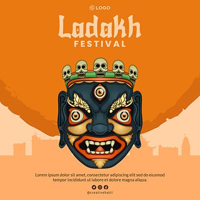 Template of Ladakh festival illustration