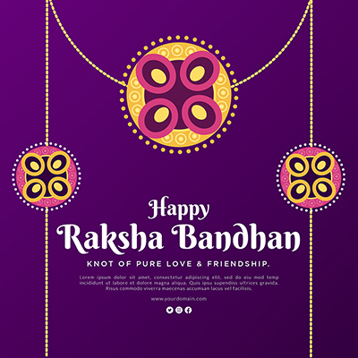 Template of happy raksha bandhan knot of pure love and friendship
