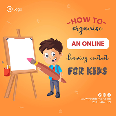 Template of how to organize online drawing contest for kids