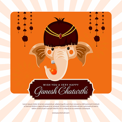 Wish you a very happy ganesh chaturthi banner template