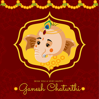 Wish you a very happy ganesh chaturthi design template
