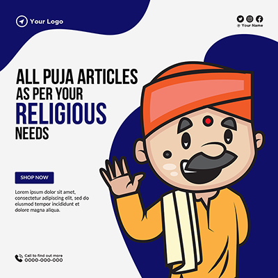 All puja articles as per your religious needs banner template