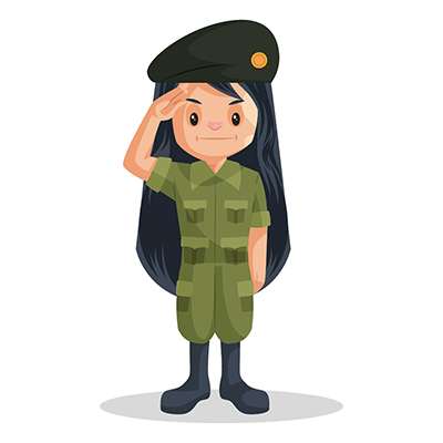 Army girl illustration is giving a salute