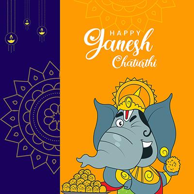 Banner for happy Ganesh Chaturthi illustration template