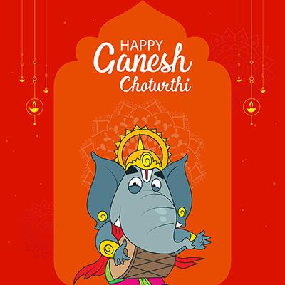 Banner of happy Ganesh Chaturthi illustration template