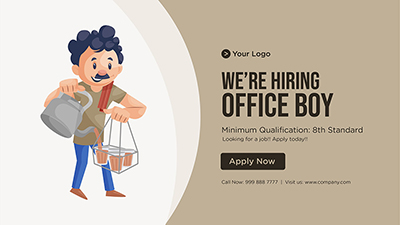 Banner of we are hiring office boy template