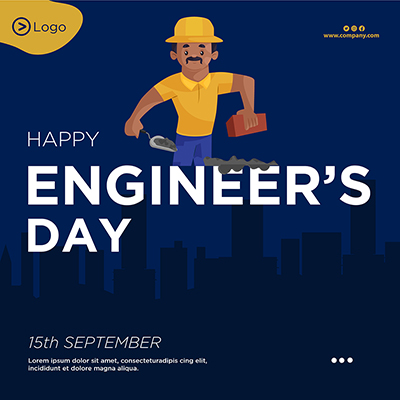 Banner template for happy engineer's day illustration