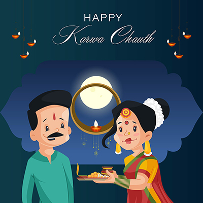 Banner template for happy karwa chauth festival
